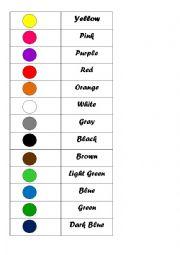 English Worksheet: Colours - memory game