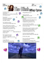 English Worksheet: The Climb (Warm up song for teaching present continuous)