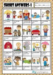 English Worksheet: SHORT ANSWERS 1 + KEY