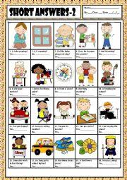 English Worksheet: SHORT ANSWERS 2 + KEY