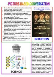English Worksheet: Picture-based conversation : topic 7 - intuition vs science