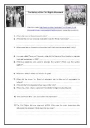 English Worksheet: History of civil rights movement