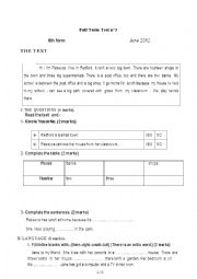 English Worksheet: 6th form june 2012  test