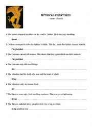 English Worksheet: Noun clauses - mythical creatures