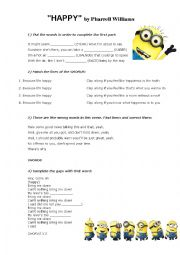 English Worksheet: Happy - Despicable Me 2 Soundtrack