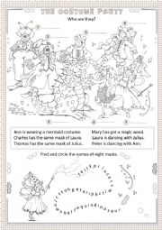 English Worksheet: The costume party