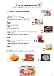 English Worksheet: English Breakfast Song