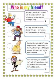 English Worksheet: is, isn�t, has got, hasn�t got + appearance description