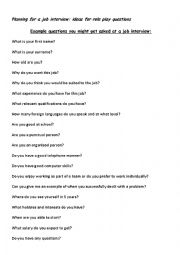 Job Interview Role Play Questions