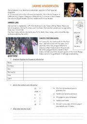 English Worksheet: Jamie Anderson