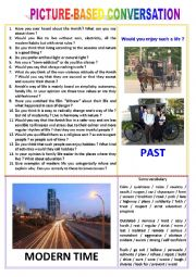English worksheet: Picture-based conversation : topic 11 - past vs modern time