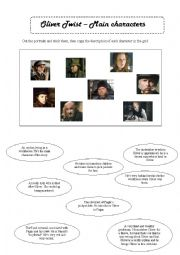 english worksheets oliver twist main characters part  english worksheet oliver twist main characters part 1