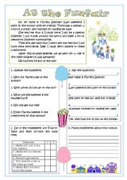 English Worksheet: At the Funfair - reading comprehension