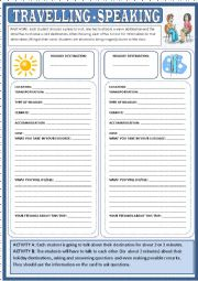 English Worksheet: Travelling - speaking activities