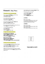 english worksheets song firework katy perry. Black Bedroom Furniture Sets. Home Design Ideas