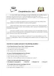 English worksheet: A Comprehension test on Books !