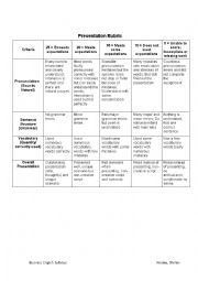 English Worksheet: Presentation Rubric