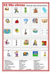English Worksheet: AT THE CIRCUS - Matching exercise