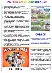 English Worksheet: Picture-based conversation : topic 12 : comics vs cartoons.