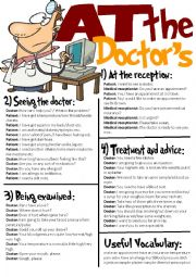 English Worksheet: At The Doctor�s-Useful Expressions/Roleplay