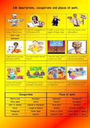 English Worksheet: Job descriptions,occupations and places of work
