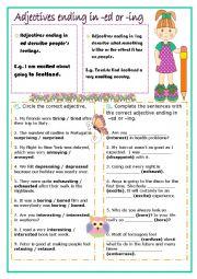 English Worksheet: Adjectives ending in -ed or -ing