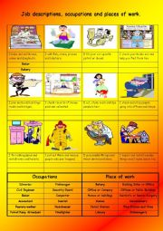 English Worksheet: Job descriptions, occupations and places of work
