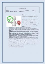 English Worksheet: Complaints test