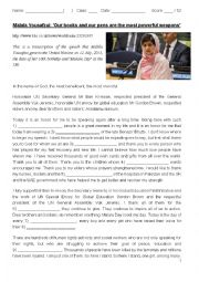 English Worksheet: Malala�s Speech: �Our books and our pens are the most powerful weapons�