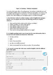 English Worksheet: holidays - holiday complaints