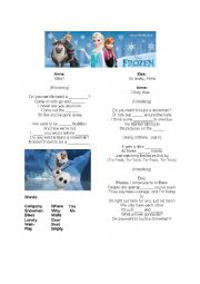 English Worksheet: Do you want to build a snowman? Gap Fill