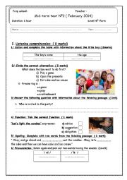 English Worksheet: Listening comprehension about a birthday party ( 8th form midterm test N�2