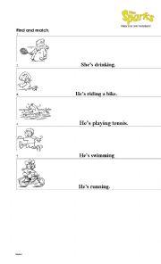English Worksheet: He/ She is swimming