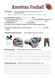 English Worksheet: American Football & The Superbowl
