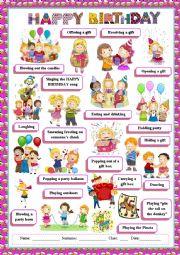 English Worksheet: Happy birthday vocabulary