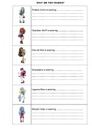 Printables Monster High Worksheets english worksheets monster high clothes description worksheet description