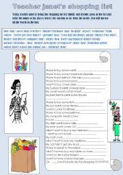 English Worksheet: Teacher janet�s shopping list