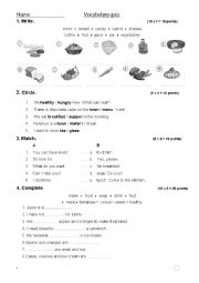 English Worksheet: Vocabulary quiz about food