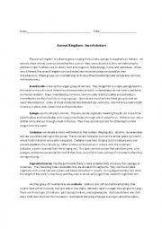 English Worksheet: Invertebrates Reading Comprehension and Cloze Activity