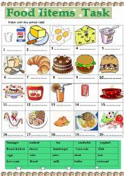 food items task