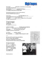 English Worksheet: High hopes by Pink Floyd