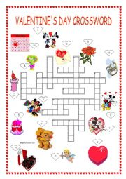 English Worksheet: Valentine´s day crossword + key