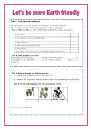 English Worksheet: Let�s be more earth friendly listening comprehension