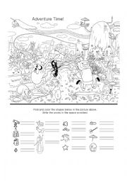 English Worksheet: Adventure Time Hidden Object Worksheet