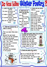 English Worksheet: Do You Like Winter Poetry?