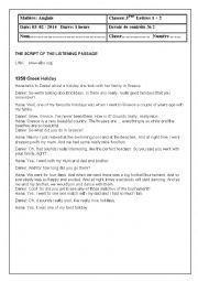 English Worksheet: Holidaying (mid term test for 3rd formers)