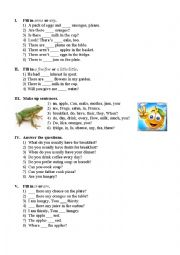 English Worksheet: Let�s have a snack