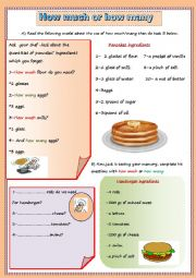 English Worksheet:  how much or how many