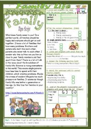 English Worksheet: Family Life(Mid Term1Test 9th form):2parts:Listening+Link+language+Key