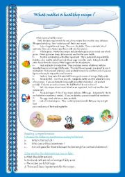 English Worksheet: what makes a healthy recipe ?